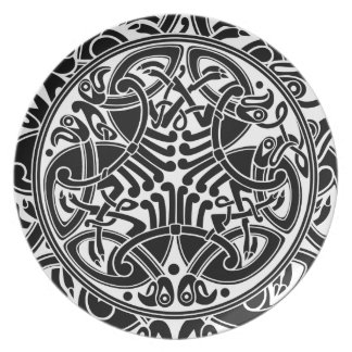 Celtic Bird Pattern in Black & White Plate