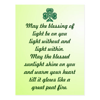 celtic blessing shamrock postcard