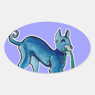 Celtic Blue Dog Oval Sticker