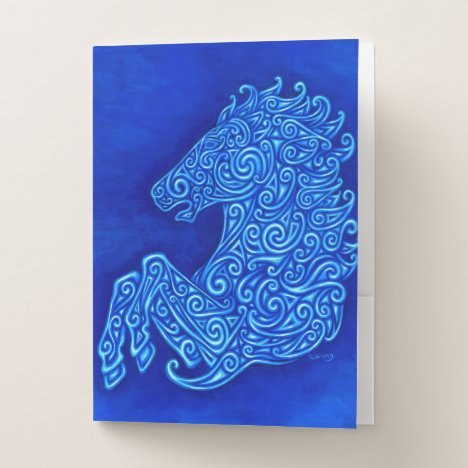Celtic Blue Horse Pocket Folders