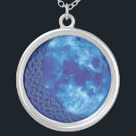 """Celtic Blue Moon Pendant Necklace<br><div class=""""desc"""">A crescent of celtic kntowork masquerades as the dark side of this rare blue moon. Definitely good luck!</div>"""