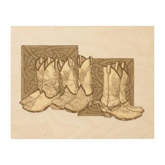 celtic boots wood prints