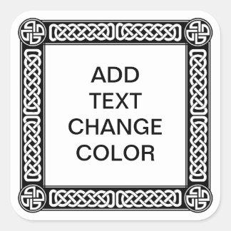 Celtic border on any color square sticker