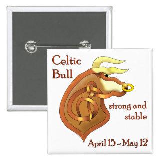 Celtic Bull 2 Inch Square Button