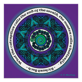 Celtic Butterfly Mandala Perfect Poster
