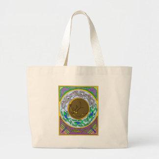 celtic cat dreams large tote bag
