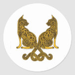 celtic cats 6 bronze gold classic round sticker