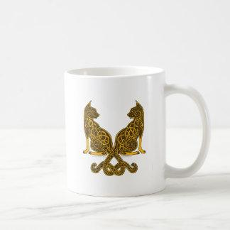 celtic cats 6 bronze gold coffee mug