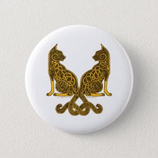 celtic cats 6 bronze gold pinback button