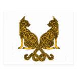 celtic cats 6 bronze gold postcard