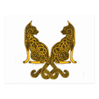 celtic cats 6 bronze gold post cards