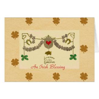 Celtic Christmas Green Shamrock Gold Pig Horseshoe Card