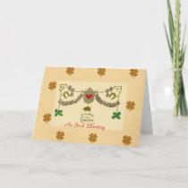 Celtic Christmas Green Shamrock Gold Pig Horseshoe Holiday Card