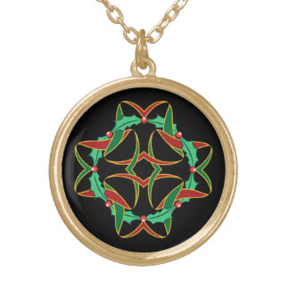 Celtic Christmas Holly Wreath Gold Plated Necklace