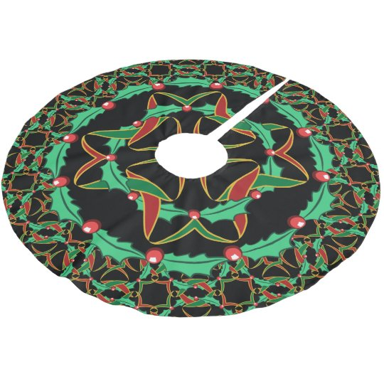 Celtic Christmas.Celtic Christmas Holly Wreath Pattern Brushed Polyester Tree Skirt