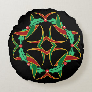 Celtic Christmas Holly Wreath Round Pillow