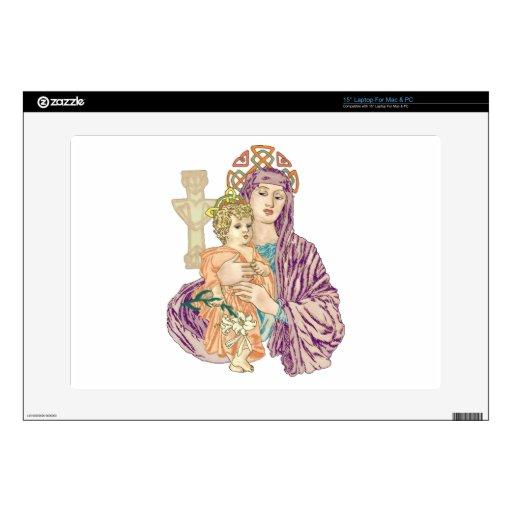"""Celtic Christmas Madonna 15"""" Laptop Skins"""