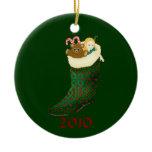 Celtic Christmas Stocking -  2010 Ceramic Ornament