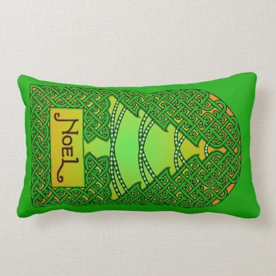 Celtic Christmas Tree - Green Lumbar Pillow