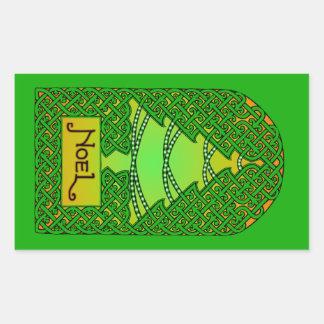 Celtic Christmas Tree - Green Rectangular Sticker