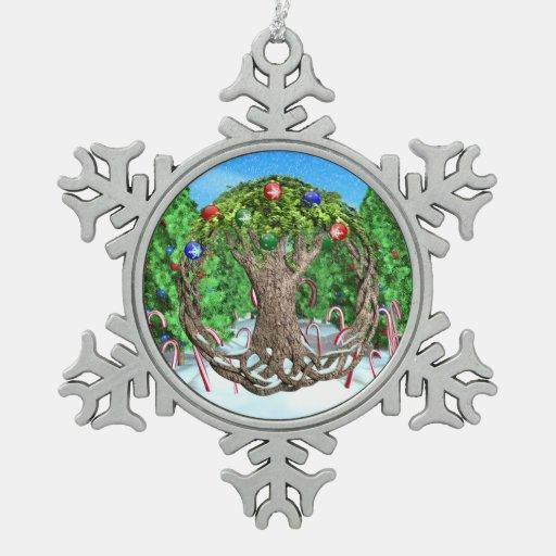 Celtic Christmas Tree Snowflake Pewter Christmas Ornament ...
