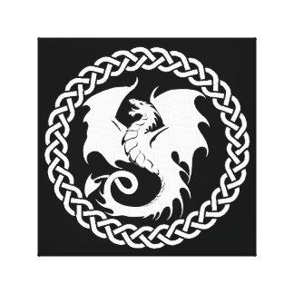 Celtic Circle Dragon Black White Canvas Print
