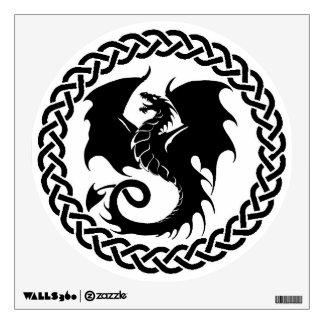 Celtic Circle Dragon Black White Wall Decal