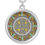 Celtic circle - steel and leather silver plated necklace