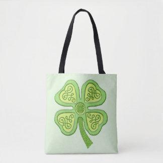 Celtic Clover Green 4-Leaf Lucky Irish Patricks Tote Bag