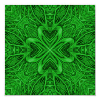 Celtic Clover Kaleidoscope Colorful Posters