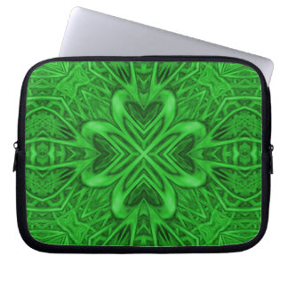 Celtic Clover Kaleidoscope Neoprene Laptop Sleeves