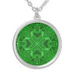 Celtic Clover Kaleidoscope Silver Plated Necklace