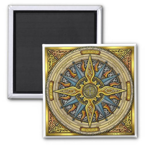 Celtic Compass Square Magnet