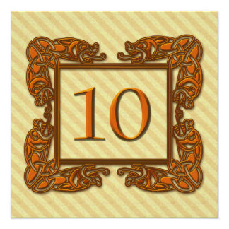Celtic Copper Table Number 10 Card