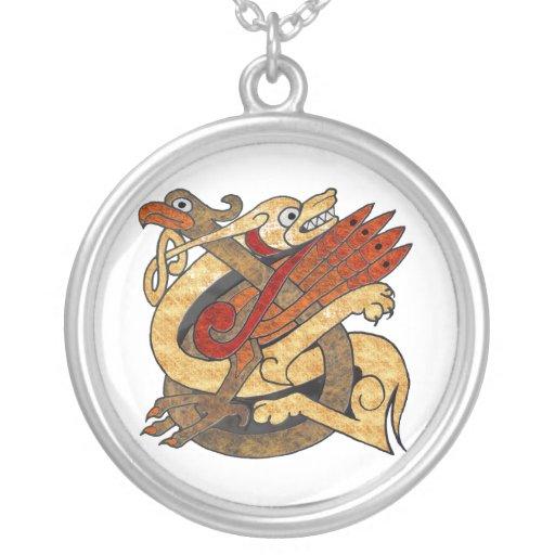 Celtic Creatures Round Pendant Necklace