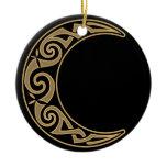 Celtic Crescent Moon Ceramic Ornament