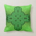Celtic Cross 10 Green Throw Pillow