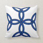 Celtic Cross 11 Blue Throw Pillow