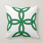 Celtic Cross 11 Green Throw Pillow