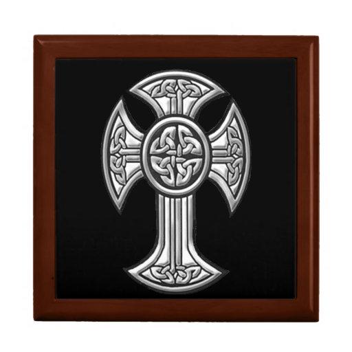Celtic Cross 2 Black Keepsake Boxes