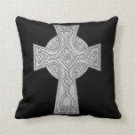 Celtic Cross 2 Black Throw Pillow
