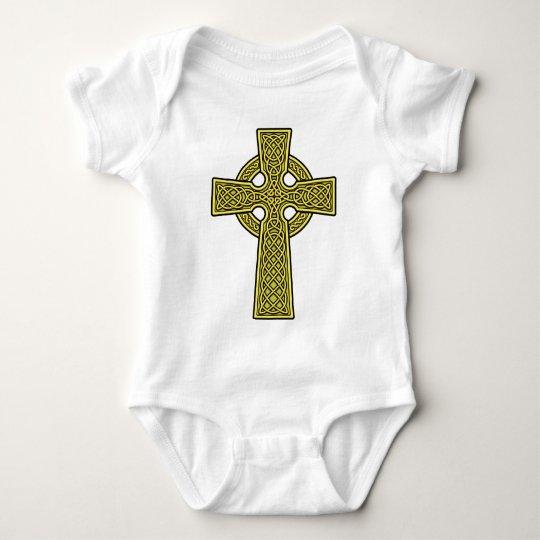 Celtic Cross 2 gold Baby Bodysuit