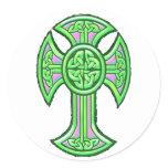 Celtic Cross 2 Green Classic Round Sticker