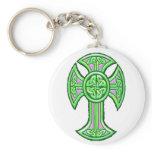 Celtic Cross 2 Green Keychain