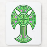 Celtic Cross 2 Green Mouse Pad