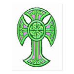 Celtic Cross 2 Green Postcard
