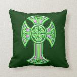 Celtic Cross 2 Green Throw Pillow