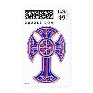 Celtic Cross 2 Purple Postage Stamp