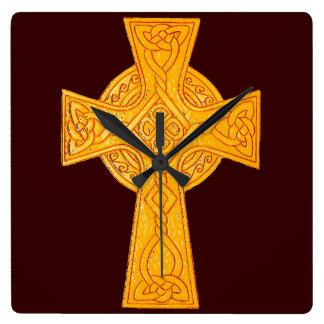 Celtic Cross 3 Gold Square Wall Clock