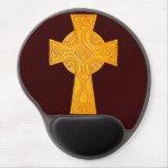 Celtic Cross 3 Gold Gel Mouse Pad